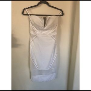 NWT Bebe White Mesh Strapless Dress